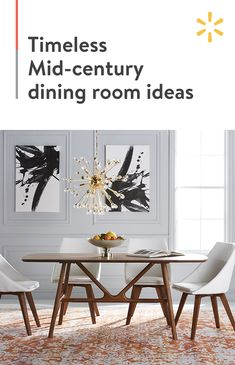 Dine like royalty in this Mid-century modern masterpiece. The unmistakable lines of this wooden dining room table pop with a statement chandelier and warm-hued area rug. Bring your vision to life at…More Dining Room Design, Dining Room Table, Dining Rooms, Mid Century Dining, Decoration Inspiration, Interior Design Living Room, Design Bedroom, Mid-century Modern, Kitchen Decor