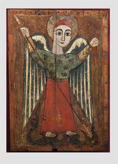 Archangel Michael / Arcángel San Miguel // Egypt, Coptic art of the c // Byzantine and Christian Museum, Athens Religious Images, Religious Icons, Religious Art, Byzantine Art, Byzantine Icons, Kunst Online, Archangel Michael, Arte Popular, Naive Art