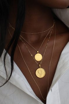 THE EGYPTIAN Coin Necklace Stack II Omi Woods Egyptian Coin necklaces paired with simple and delicate gold fill, sterling silver. Cute Jewelry, Silver Jewelry, Jewelry Accessories, Trendy Jewelry, Solid Gold Jewelry, Bridal Jewelry, Silver Rings, Turquoise Jewelry, Women Accessories