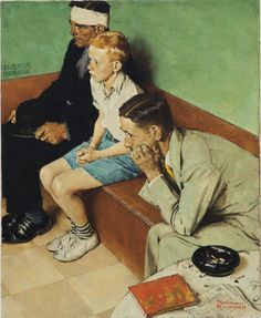 Norman Rockwell (1894-1978) The Waiting Room signed 'Norman/Rockwell' (lower right) oil on canvas 28 x 23 in. (71.1 x 58.4 cm.) Painted in 1937.