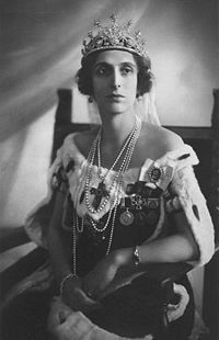 Queen Louise of Sweden as Crown Princess.  She was the second wife of Gustav VI, succeeding Margaret of Connaught, a maternal cousin.  Born Princess of Battenberg, became Lady Louise Mountbatten when her father gave up his German titles and became Marquis of Milford Haven.  The royal couple were happily married, but had no issue.  Louise was a little eccentric, and a great lover of democracy.