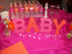 Baby Shower Ideas For A Girl pink orange yellow | Hot pink and orange baby shower www.loveisinbloomevents.com