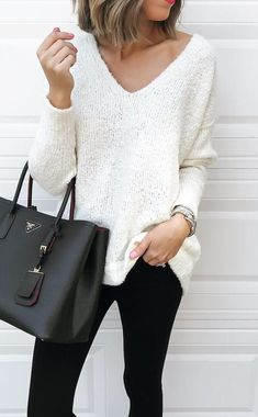 #winter #outfits white knitted v-neck long-sleeved shirt