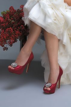Doris Wedding Shoe by Liz Rene. Absolutely stunning shoe and perfect for a Winter wedding when berries are full and red. Shoes were dyed and from www.bridalshoesuk.co.uk, and maybe ever so slightly inspired by Dorothy from the wizard of Oz, there's no place like home. We love shoes!
