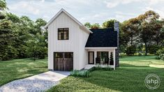 The Littleton is a charming Modern Farmhouse cabin plan. The outside features board and batten siding and a wood garage door. As you enter the house through the covered porch, you'll enter a great room that is warmed by a fireplace. The full-sized kitchen includes a convenient pantry. The hom Narrow Lot House Plans, Garage House Plans, Best House Plans, Small House Plans, 2 Story Garage, Square House Plans, Car Garage, Garage Doors, Board And Batten Exterior
