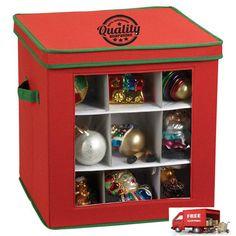 Holiday Ornament Storage Box for 27-Piece, Red with Green Trim #OrnamentStorageBox