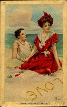 Divided Back Postcard When Love Is On The Beach Swimsuits & Pinup Vintage Abbildungen, Vintage Couples, Images Vintage, Vintage Artwork, Vintage Ephemera, Vintage Holiday, Vintage Pictures, Vintage Prints, Vintage Ladies