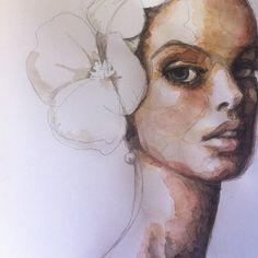 Fashion illustration - beautiful watercolour portrait drawing; fashion sketch // Kasia Rei