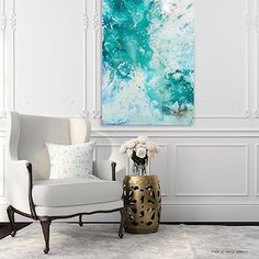 Abstract artworks are on sale for the holidays. Blue and teal textured modern art at www.emilka.co