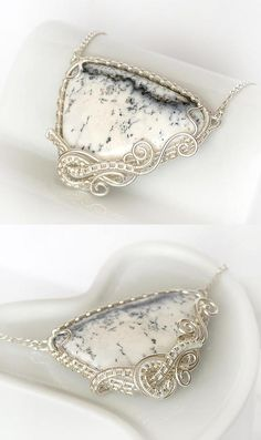 sterling silver wire necklace with natural dendrite opal cab