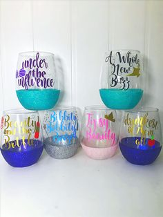 Wine glasses set of 6 Shipping & Policies Current Turnaround time is 2-3 weeks These Personalized Wine Glasses have the perfect amount of glitter on it, which makes it super fabulous! These will be perfect to use on your Birthday, Wedding Day, Baby Shower, Wedding Shower, Bachelorette Party,