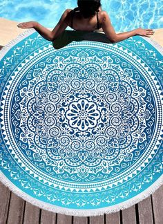 Vintage Mandala Printed Tassels Round Beach Towel Carpet Outdoor Picnic Mat Fashion To Reduce Body Weight And Prolong Life Home