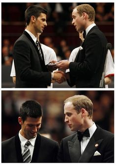 """Prince William presents #Djokovic with the """"Centrepoint Premier Award"""" for his charity work."""