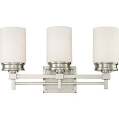 @Overstock - The Wright collection is the essence of Wright's design concepts. Clean linear simple lines for master that are visually pleasing and perform a function.http://www.overstock.com/Home-Garden/Wright-Nickel-w-Satin-White-Glass-3-Light-Vanity-Fixture/6986014/product.html?CID=214117 $159.99