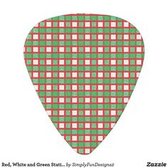 Red, White and Green Static Weave Guitar Pick