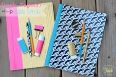 personalizing school supplies with Duck tape