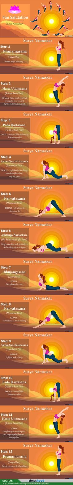 Best morning yoga pose to do. Sun salutation yoga for weight loss. How to do sun salutation (Surya Namaskar) step by step pose. Incredible Health Benefits and Steps of Sun Salutation Yoga for weight loss. http://www.yogaweightloss.net/best-yoga-position/