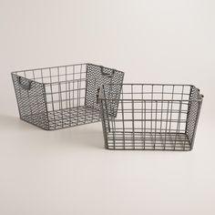 "Small: 10.6""W x 14.8""L x 8""H Zinc Metal Jamison Storage Baskets | World Market"