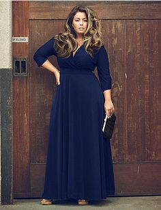 edfeb81a6f2bc Purple V Neck Sleeve Plus Size Skater Maxi Dress - Add a modesty panel to  bring up the neckline.