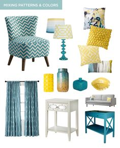 Tips for Mixing Different Patterns & Colors in Your Home, turquoise chevron, Target Threshold lamps, yellow geometric, turquoise sofa table from Target