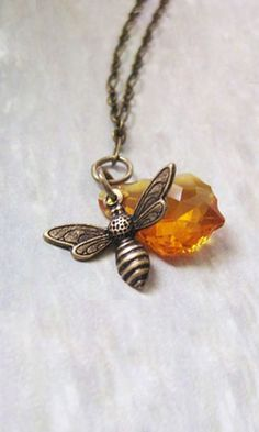 honeybee and amber necklace