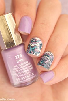 paisley nails #nail art #mavala #waterdecals #purple