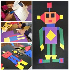"Quadrilateral Robots: Math Activity, Worksheets & Game: My ""Quadrilateral Robots"" lesson is a great way to have fun teaching your students about quadrilaterals. There is a quadrilateral robot art project, a robot road game and high level thinking worksheets. The quadrilateral robots are made up of parts made only from members of the quadrilateral family--squares, rectangles, parallelograms, rhombuses, kites and trapezoids!"