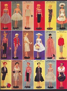 1959 Barbie's first year fashions.
