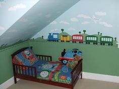 train room themes | Train Central, My toddler LOVES trains. I handpainted a mural of ...