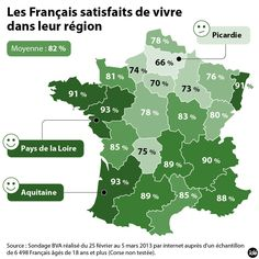 Cartographie du taux de satisfaction des habitants par région par rapport à leur qualité de vie. Map Diagram, Ville France, Satisfaction, French Lessons, Teaching French, Aquitaine, Learn French, French Language, Communication