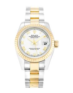 This is a pre-owned Rolex Datejust Lady 179173. It has a 26mm Steel Case & Yellow Gold Bezel, a White Roman Numeral dial, a Steel & Yellow Gold (Oyster) bracelet, and is powered by an Automatic movement.