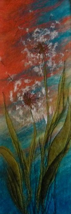 'Dandelion Clocks' SOLD - Threlfall's Art Studio | Silk Paintings | Felt Paintings | Acrylics | Caren and Pete | Country, Town and Seascapes | Workshops |