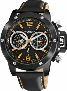 Akribos XXIV Men's AKR469BK Conqueror Multifunction Stainless Steel Swiss Quartz Strap Watch Akribos XXIV. $139.00. Double layered dial featuring day of week, date, and GMT function. Genuine black leather strap featuring orange contrast stitching. Water-resistant to 330 feet (100 M). Shatter-resistant krysterna crystal. Precise Swiss-Quartz movement. Save 80%!
