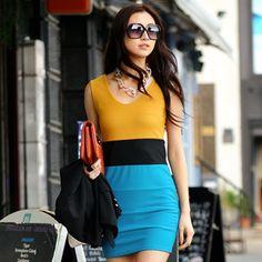 Sleeveless Shirt Dress Yellow and Blue - One Size