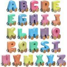 Pastel Wooden Letters Name Train