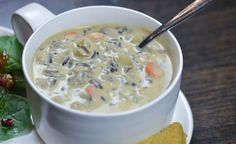 It's creamy and hearty and full of flavor. It somehow warms your soul. One pot, one blender, one very happy family. Make this creamy wild rice soup tonight, it's an instant classic.