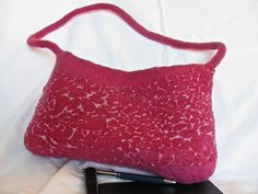 Unique Nuno Felt Handbag  OOAK  red violet by ZanieCraftsFeltedArt