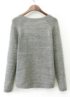Patrón de manga larga gris del corazón asimétrico del suéter    Fashionerly  Manga Larga a6feb0d42271