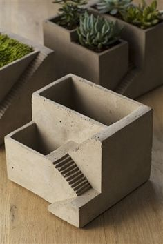 Cement Architectural Pot with Two Planters.