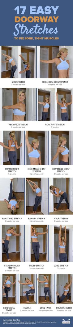 Tight hips and shoulders? Do these easy doorway stretches to ease tension from head to toe. Find all the exercises here # Nutrition pictures 17 Easy Doorway Stretches To Fix Sore, Tight Muscles Fitness Workouts, Sport Fitness, Yoga Fitness, Fitness Tips, Health Fitness, Muscle Stretches, Stretching Exercises, Tricep Stretch, Pilates Training