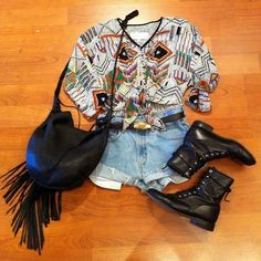 Tribal shirt, short shorts, and boots #outfit