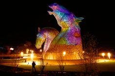 Gorgeous photos of The Kelpies art installation in Scotland. I want to see these horse heads for myself!