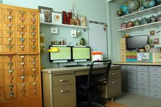 Just Make Stuff Blog...Craft Room. Love the metal desk, the reasonable not cutesy storage, and the dual monitors.