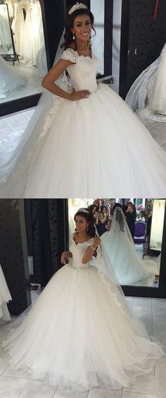 Cap Sleeves Ball Gown Lace/Tulle Wedding Dress Bridal Dresses Vestidos de Novia BDS0549