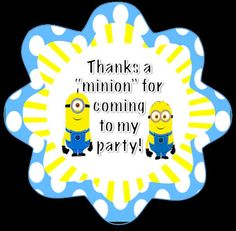 Minion Favor Tag for a Despicable Me Party by GoddessOfGraphics, $5.00