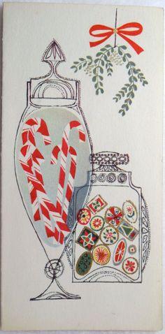 #5 50s Mid Century Modern Candy Cane Jars- Vtg Unused Christmas Greeting Card