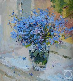 Vase of airy blue flowers palette knife painting «не забудь меня»