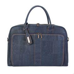 vegane Aktentasche aus Kork in blau