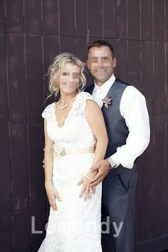cap sleeved lace wedding dress with belt V by Lemandyweddingdress, $329.00