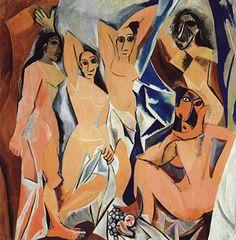 Pablo Picasso, Les Demoiselles d'Avignon, Oil on canvas. © Succession Picasso_DACS, London 2019 on ArtStack Kunst Picasso, Art Picasso, Picasso Paintings, Art Paintings, Picasso Style, Painting Art, Painting Gallery, Indian Paintings, Painting Lessons